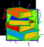 illustration of a stack of colorful books