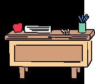 picture of a teacher's desk with an apple