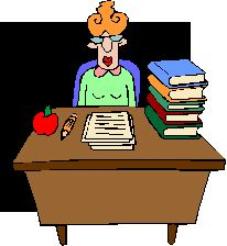 illustration of a teacher at her desk (with apple and stack of books!)